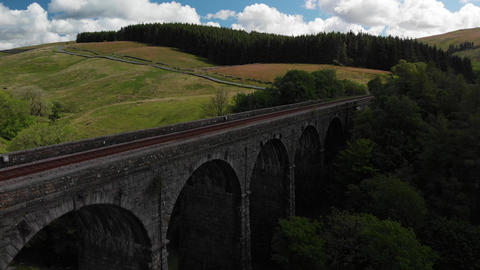 Aerial shot of the Dent Head Viaduct. (V404) Footage