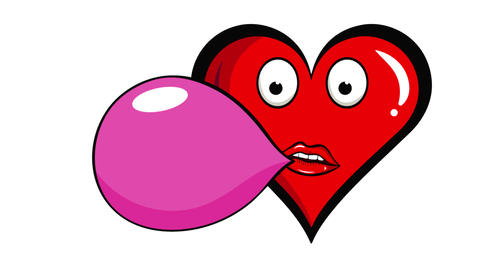 Red heart with chewing gum Animation