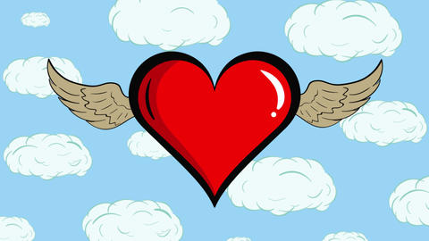 Red winged heart and clouds Animation