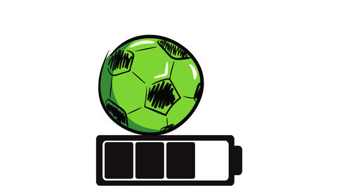 The green soccer ball charged Animation
