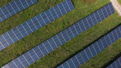 Flying over solar panels (V446) Live Action