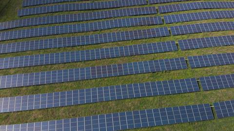 Flying over solar panels (V445) Live Action