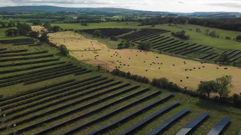 Flying over solar panels (V450) Live Action