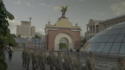 The Independence Square. A column of soldiers of the Ukrainian army Footage