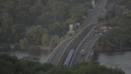 Kiev (Kyiv) , Ukraine. The bridge across the Dnieper river . Timelapse Footage
