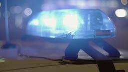 Close-up of flashing police lights ビデオ