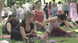 Group of people practicing yoga. Slow motion Footage