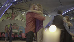 Couples dancing tango (milonga) in the evening on the dance floor Footage