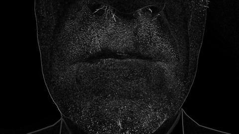 Black White Old Man Smile Footage