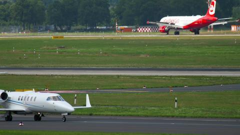 Airplane landing at Dusseldorf airport Footage