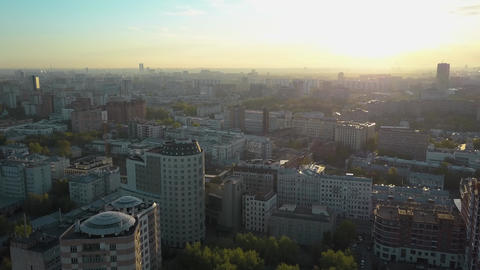 Aerial scene of Moscow in early morning, Russia Archivo