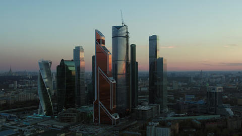 Aerial Moscow cityscape with business centre, Russia Archivo