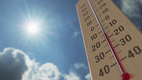 Outdoor thermometer reaches 0 zero. Weather forecast related 3D animation Live Action