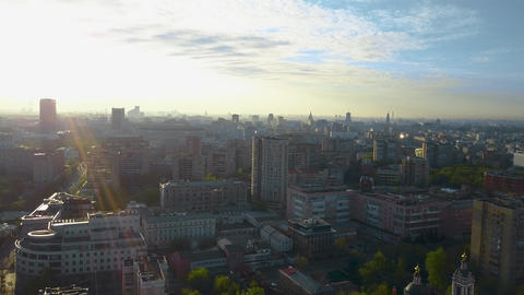 Aerial shot of quiet Moscow in the light of morning sun, Russia Archivo