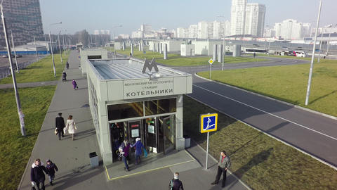 Aerial shot of people traffic at Kotelniki subway station entry, Moscow Archivo