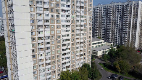 Panel apartment block as a part of Moscow aerial cityscape, Russia Footage