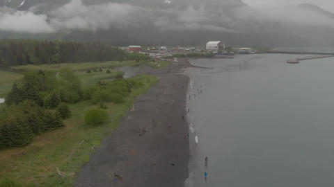 Beach lined with Alaskans subsistence fishing Live Action
