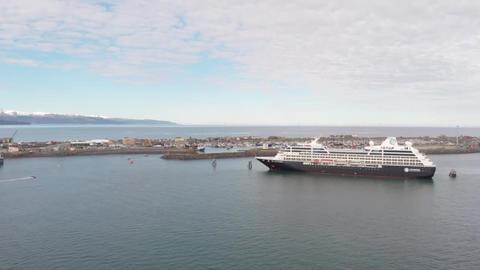 Large cruise ship in Homer Alaska Live Action