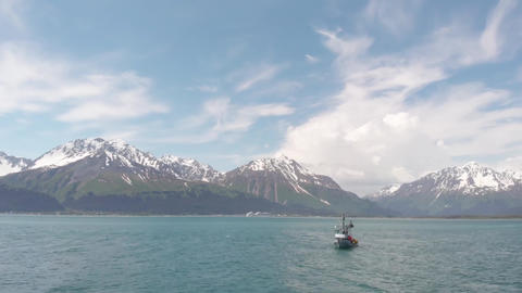Rough waters for a salmon fishermen in Alaska Live Action