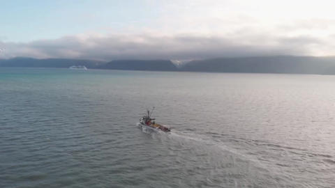 Commercial salmon boat headed to the fishing grounds of Alaska Live Action