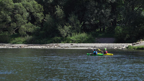 Poland, Dunajec River June 2019. Boating on the river. zoom in Footage