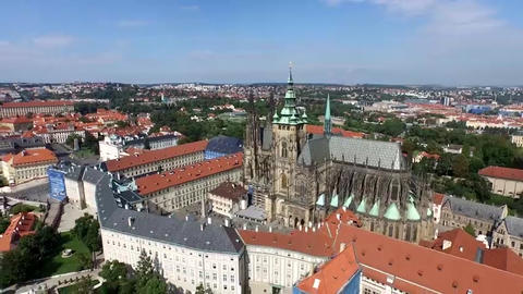 St. Vitus Cathedral in Prague from the altitude. Sunny, windless weather. Blue Live Action