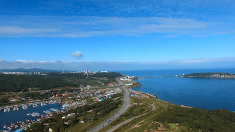 Panorama of Vladivostok with views of Ulysses Bay and boat Parking Live Action