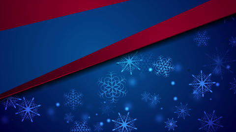 Blue red abstract Christmas snowflakes video animation Animation