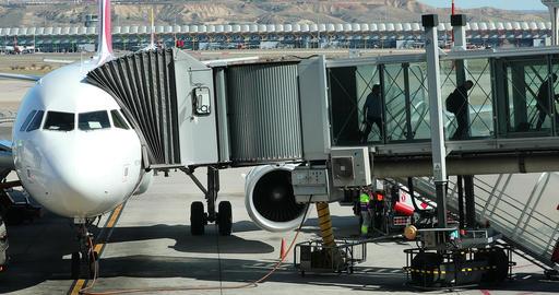Airbus A330 Plane With Boarding Bridge GIF