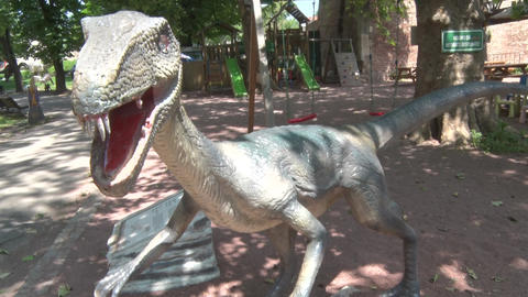 Realistic coelophysis dinosaur in dino park Head and body Footage