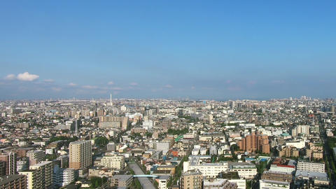 Japan city scenery. Panoramic view of Tokyo Live Action