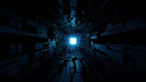 black scifi space tunnel background wallpaper with nice glow 3d rendering vjloop Live Action