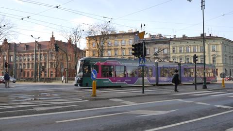 Tram in Krakow - Tracking shot Live Action