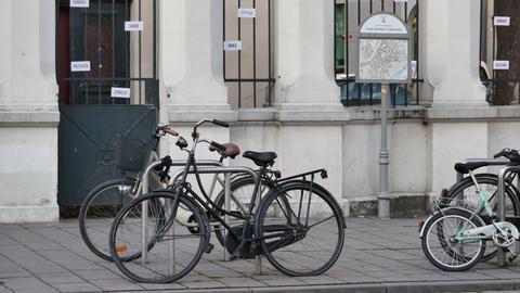 Bicycles near Jewish Community Centre - Pan Footage