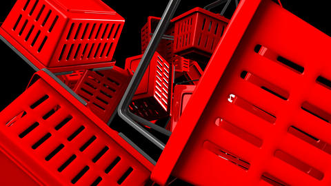 Red Shopping baskets Animation