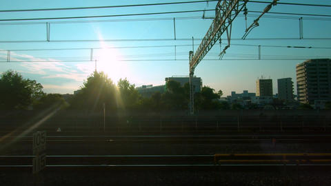 Railway car window. Sunlight and sky tree Live Action