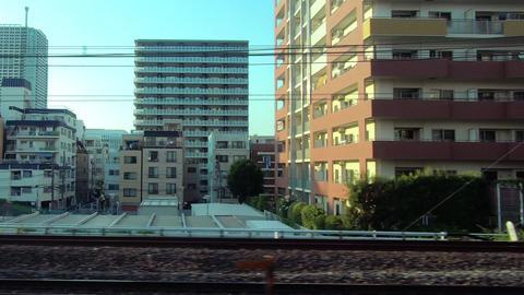 Japanese railway car window. Travel around Tokyo, Kinshicho ビデオ
