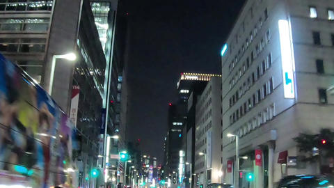 Japan city scenery. It travels around Tokyo, Ginza at night. Timelapse ライブ動画