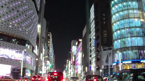 Japan city scenery. It travels around Tokyo, Ginza at night. Timelapse Live Action