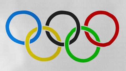 1080p Loopable: Olympic Rings Flag Waving in Wind Footage