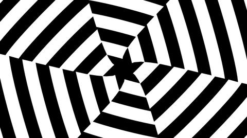 Black and white triangular hypnotic stripes twist into hexagon form Animation