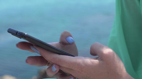 Close Up Woman Hands Using Smartphone Texting Sending Messages Footage