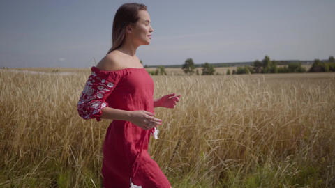 Side view of beautiful carefree woman with long hair running through the wheat Live Action