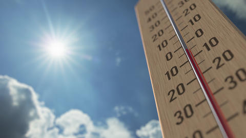 Outdoor thermometer reaches 25 twenty-five degrees centigrade. Weather forecast Live Action