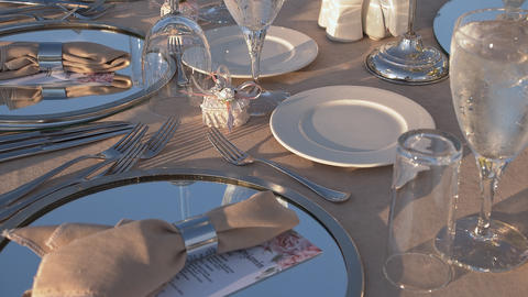 Wedding Table Close Up Stock Video Footage