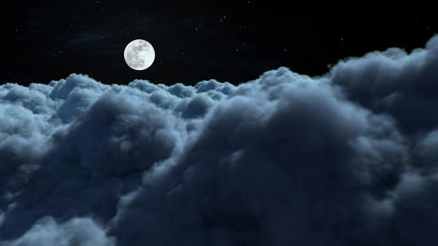Fly Above The Night Clouds Animation