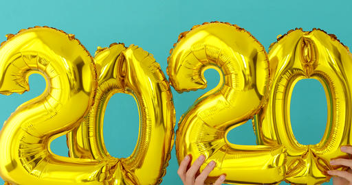 Gold foil number 2020 celebration balloon Footage