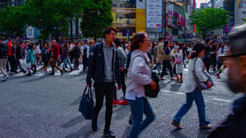 A timelapse of people at the crossing in Shibuya Tokyo daytime wide shot tilt ライブ動画