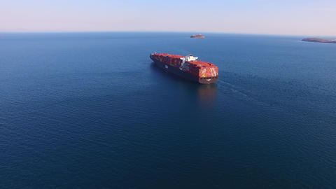 Aerial view of the seascape with red ships Footage