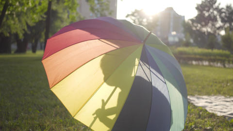 Multi-colored umbrella lying on the grass in the park. Little carefree boy Live Action